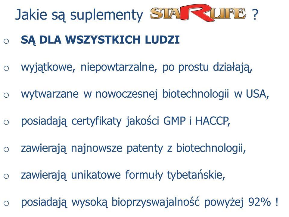 Jakie są suplementy ? o SĄ DLA WSZYSTKICH LUDZI o wyjątkowe, niepowtarzalne, po prostu działają, o wytwarzane w nowoczesnej biotechnologii w USA, o po