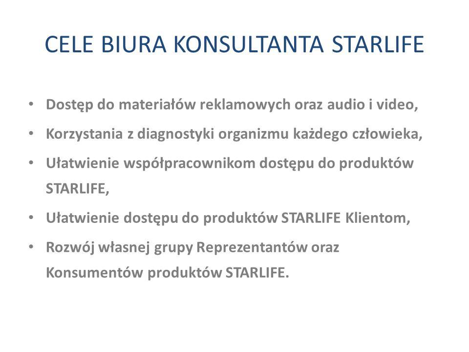 CELE BIURA KONSULTANTA STARLIFE Dostęp do materiałów reklamowych oraz audio i video, Korzystania z diagnostyki organizmu każdego człowieka, Ułatwienie
