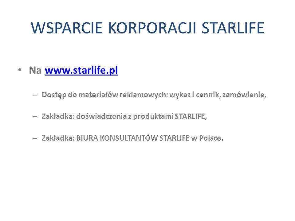 WSPARCIE KORPORACJI STARLIFE Na www.starlife.plwww.starlife.pl – Dostęp do materiałów reklamowych: wykaz i cennik, zamówienie, – Zakładka: doświadczen