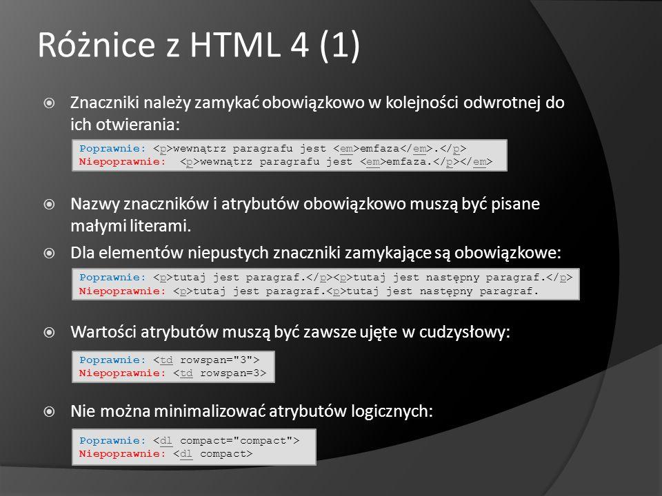 Różnice z HTML 4 (1) Znaczniki należy zamykać obowiązkowo w kolejności odwrotnej do ich otwierania: Nazwy znaczników i atrybutów obowiązkowo muszą być