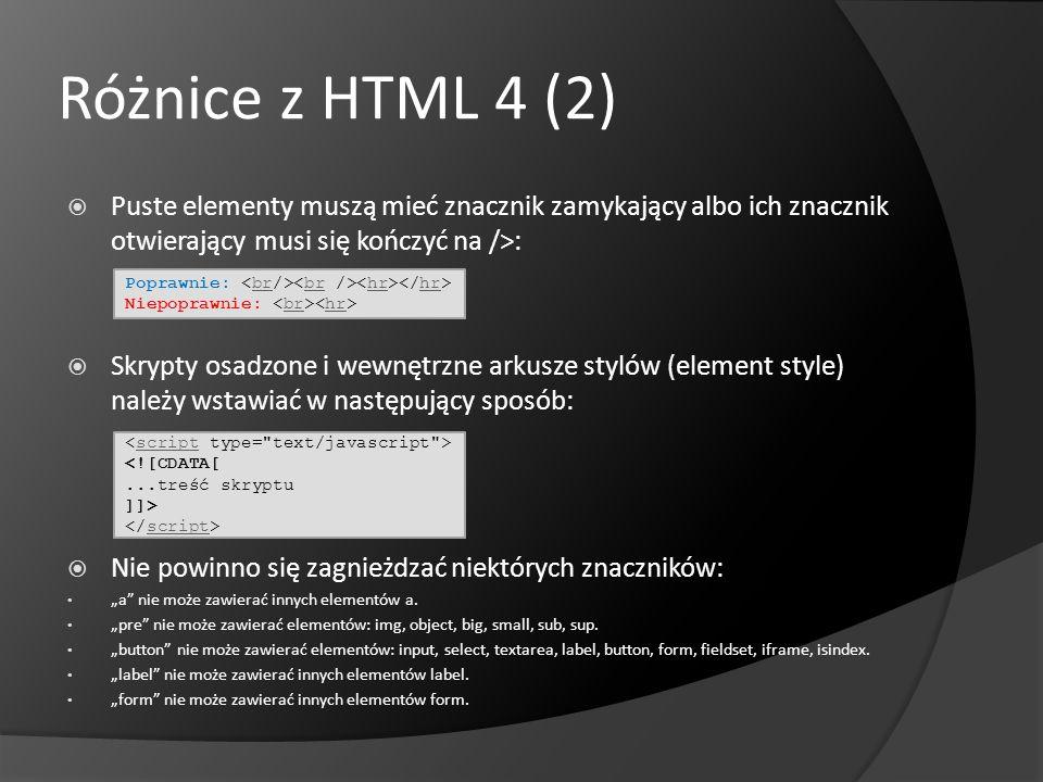 Różnice z HTML 4 (2) Puste elementy muszą mieć znacznik zamykający albo ich znacznik otwierający musi się kończyć na />: Skrypty osadzone i wewnętrzne