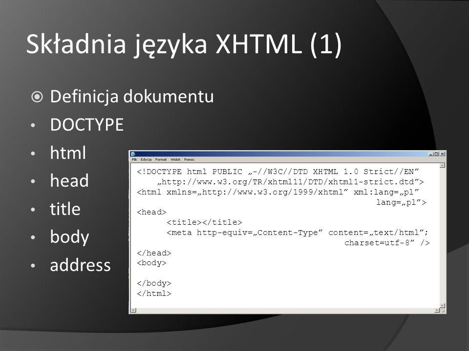 Składnia języka XHTML (2) Dane dodatkowe o dokumencie (meta) Elementy ogólne (div, span) Nagłówki (h1, h2, h3, h4, h5, h6) Zmiany w dokumencie (ins, del) Obrazy i obiekty (img, object, param, map, area) Style (style) Tabele (table, tr, td, th, caption, thead, tfoot, tbody, col, colgroup) Skrypty (script, noscript) Hiperłącza (a, link, base) Formularze (form, input, button, select, option, optgroup, textarea, label, fieldset, legend) Inne (hr,, bdo