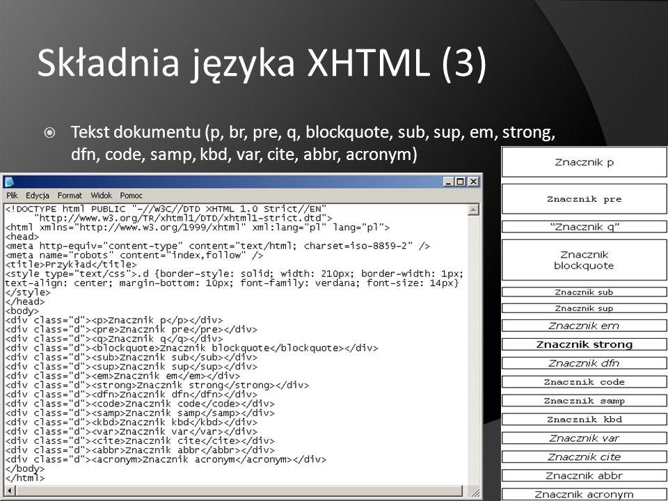 Składnia języka XHTML (3) Tekst dokumentu (p, br, pre, q, blockquote, sub, sup, em, strong, dfn, code, samp, kbd, var, cite, abbr, acronym)