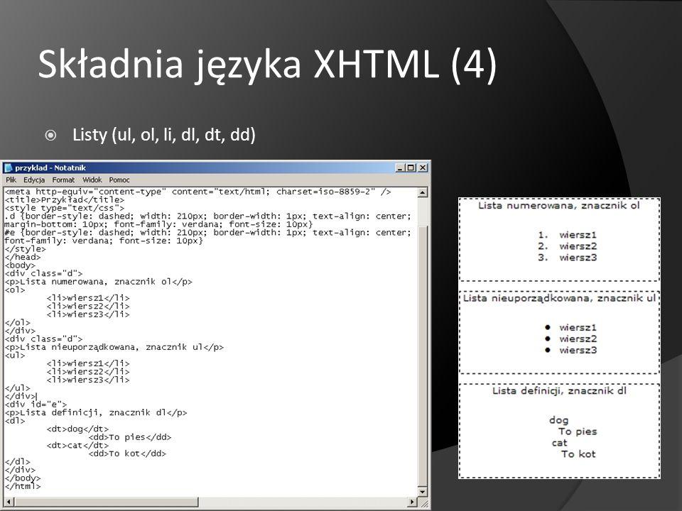 DTD DTD, czyli Document Type Definition Rodzaje DTD: Transitional Strict Frameset