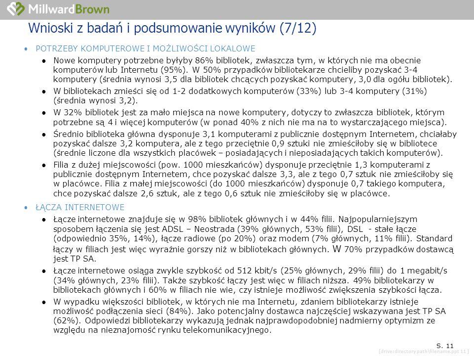[drive:directory path\filename.ppt 11 ] SYTUACJA KONKRETNEJ PLACÓWKI S. 11 Wnioski z badań i podsumowanie wyników (7/12) POTRZEBY KOMPUTEROWE I MOŻLIW