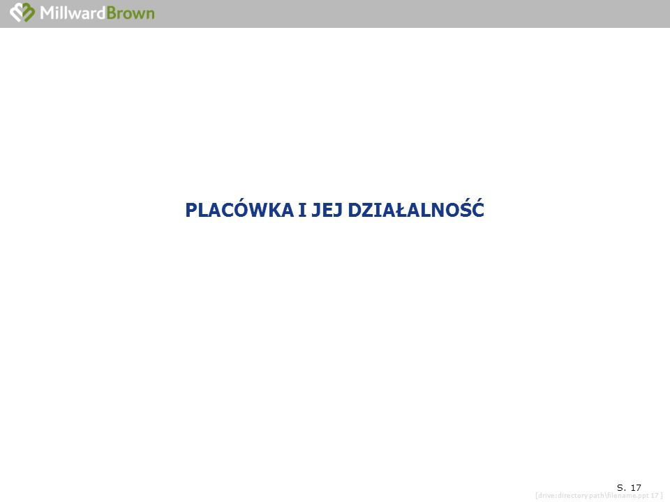 [drive:directory path\filename.ppt 17 ] SYTUACJA KONKRETNEJ PLACÓWKI S. 17 PLACÓWKA I JEJ DZIAŁALNOŚĆ