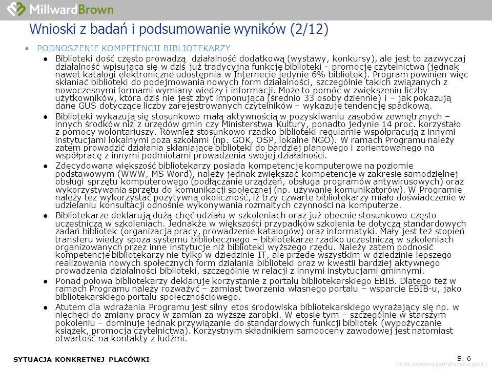 [drive:directory path\filename.ppt 6 ] SYTUACJA KONKRETNEJ PLACÓWKI S. 6 Wnioski z badań i podsumowanie wyników (2/12) PODNOSZENIE KOMPETENCJI BIBLIOT