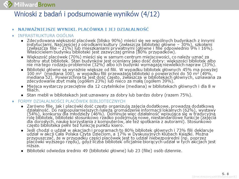[drive:directory path\filename.ppt 8 ] SYTUACJA KONKRETNEJ PLACÓWKI S. 8 Wnioski z badań i podsumowanie wyników (4/12) NAJWAŻNIEJSZE WYNIKI. PLACÓWKA