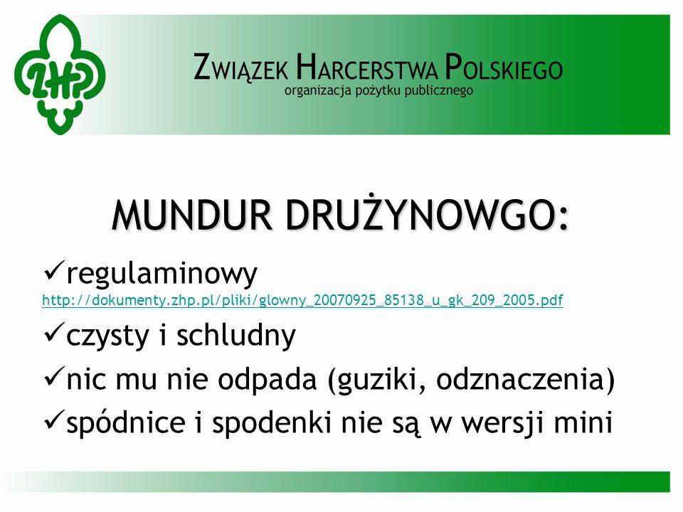 MUNDUR DRUŻYNOWGO: regulaminowy http://dokumenty.zhp.pl/pliki/glowny_20070925_85138_u_gk_209_2005.pdf http://dokumenty.zhp.pl/pliki/glowny_20070925_85