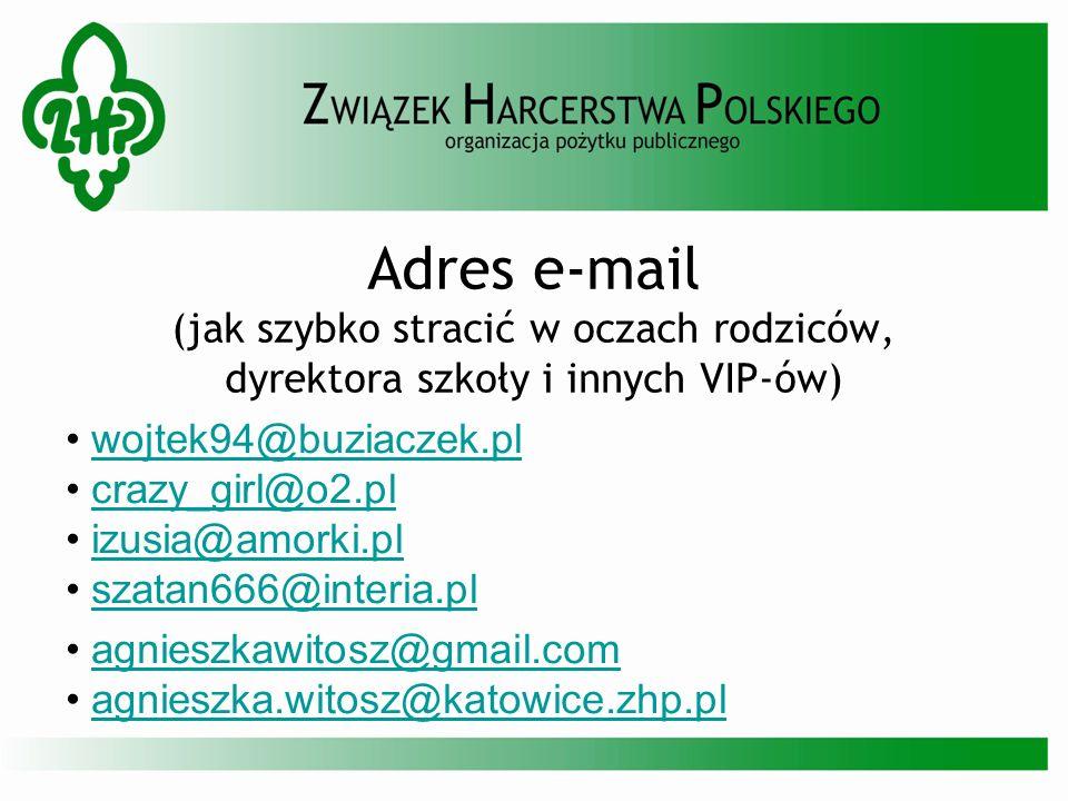 Adres e-mail (jak szybko stracić w oczach rodziców, dyrektora szkoły i innych VIP-ów) wojtek94@buziaczek.pl crazy_girl@o2.pl izusia@amorki.pl szatan66