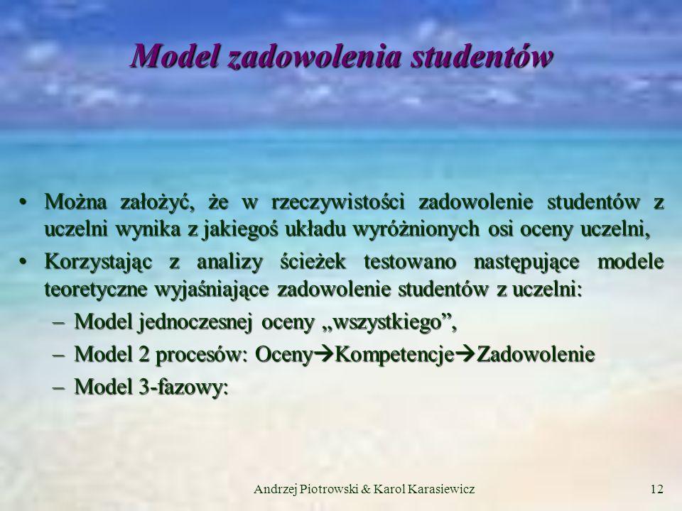 Andrzej Piotrowski & Karol Karasiewicz12 Model zadowolenia studentów Można założyć, że w rzeczywistości zadowolenie studentów z uczelni wynika z jakiegoś układu wyróżnionych osi oceny uczelni,Można założyć, że w rzeczywistości zadowolenie studentów z uczelni wynika z jakiegoś układu wyróżnionych osi oceny uczelni, Korzystając z analizy ścieżek testowano następujące modele teoretyczne wyjaśniające zadowolenie studentów z uczelni:Korzystając z analizy ścieżek testowano następujące modele teoretyczne wyjaśniające zadowolenie studentów z uczelni: –Model jednoczesnej oceny wszystkiego, –Model 2 procesów: Oceny Kompetencje Zadowolenie –Model 3-fazowy:
