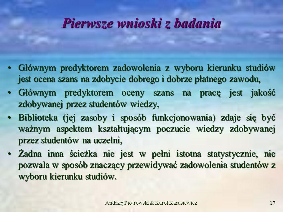 Andrzej Piotrowski & Karol Karasiewicz17 Pierwsze wnioski z badania Głównym predyktorem zadowolenia z wyboru kierunku studiów jest ocena szans na zdobycie dobrego i dobrze płatnego zawodu,Głównym predyktorem zadowolenia z wyboru kierunku studiów jest ocena szans na zdobycie dobrego i dobrze płatnego zawodu, Głównym predyktorem oceny szans na pracę jest jakość zdobywanej przez studentów wiedzy,Głównym predyktorem oceny szans na pracę jest jakość zdobywanej przez studentów wiedzy, Biblioteka (jej zasoby i sposób funkcjonowania) zdaje się być ważnym aspektem kształtującym poczucie wiedzy zdobywanej przez studentów na uczelni,Biblioteka (jej zasoby i sposób funkcjonowania) zdaje się być ważnym aspektem kształtującym poczucie wiedzy zdobywanej przez studentów na uczelni, Żadna inna ścieżka nie jest w pełni istotna statystycznie, nie pozwala w sposób znaczący przewidywać zadowolenia studentów z wyboru kierunku studiów.Żadna inna ścieżka nie jest w pełni istotna statystycznie, nie pozwala w sposób znaczący przewidywać zadowolenia studentów z wyboru kierunku studiów.