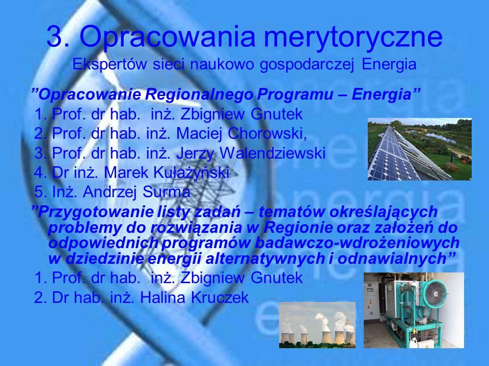 3. Opracowania merytoryczne Ekspertów sieci naukowo gospodarczej Energia Opracowanie Regionalnego Programu – Energia 1. Prof. dr hab. inż. Zbigniew Gn