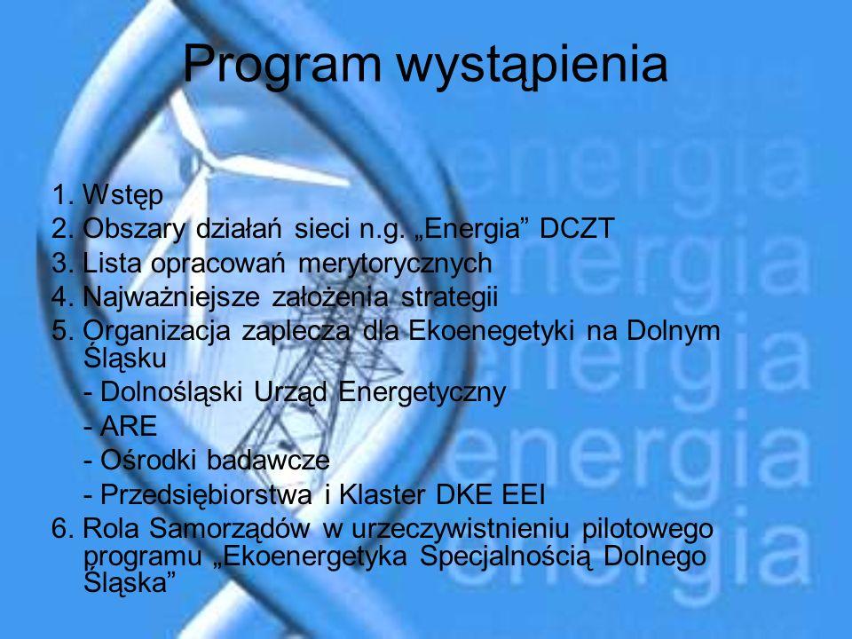 Program wystąpienia 1. Wstęp 2. Obszary działań sieci n.g. Energia DCZT 3. Lista opracowań merytorycznych 4. Najważniejsze założenia strategii 5. Orga