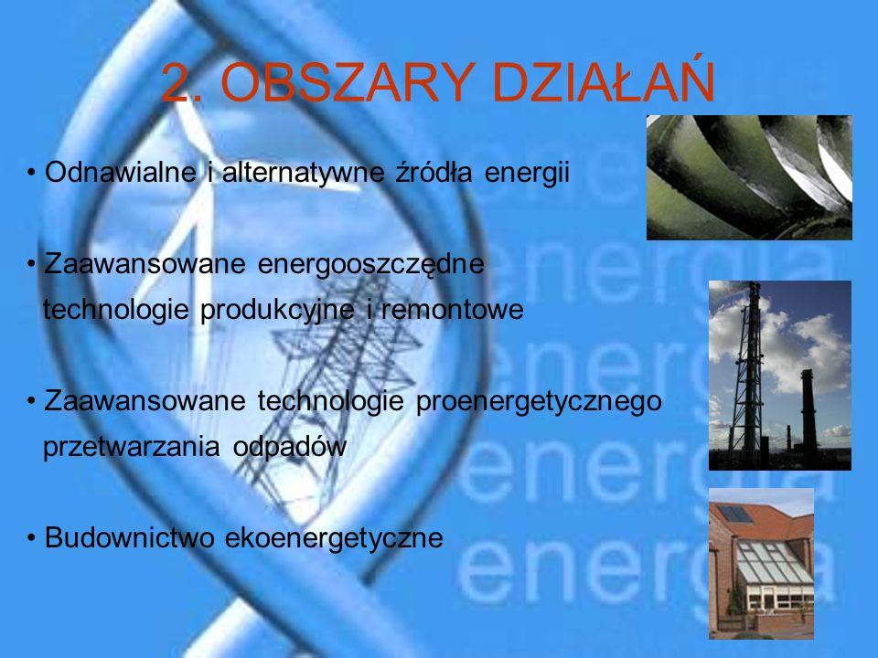 2. OBSZARY DZIAŁAŃ Odnawialne i alternatywne źródła energii Zaawansowane energooszczędne technologie produkcyjne i remontowe Zaawansowane technologie