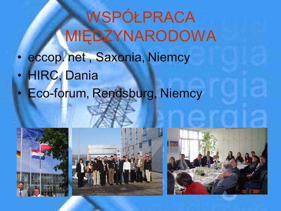 WSPÓŁPRACA MIĘDZYNARODOWA eccop. net, Saxonia, Niemcy HIRC, Dania Eco-forum, Rendsburg, Niemcy