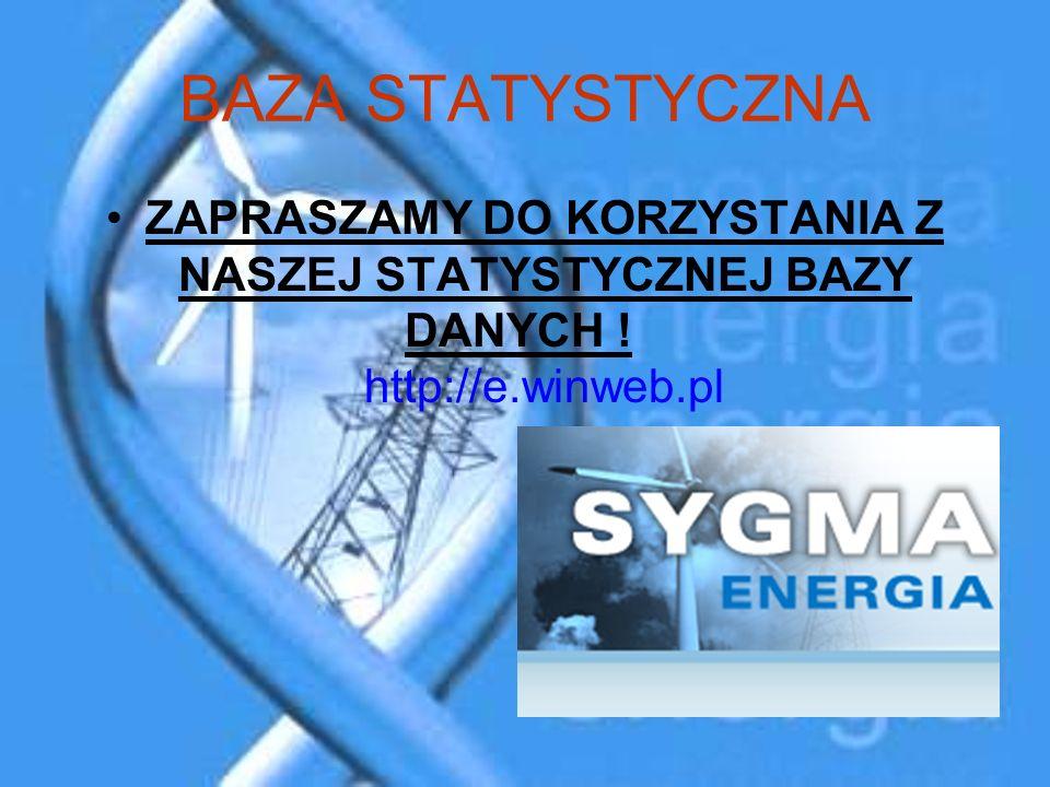 BAZA STATYSTYCZNA ZAPRASZAMY DO KORZYSTANIA Z NASZEJ STATYSTYCZNEJ BAZY DANYCH ! http://e.winweb.pl
