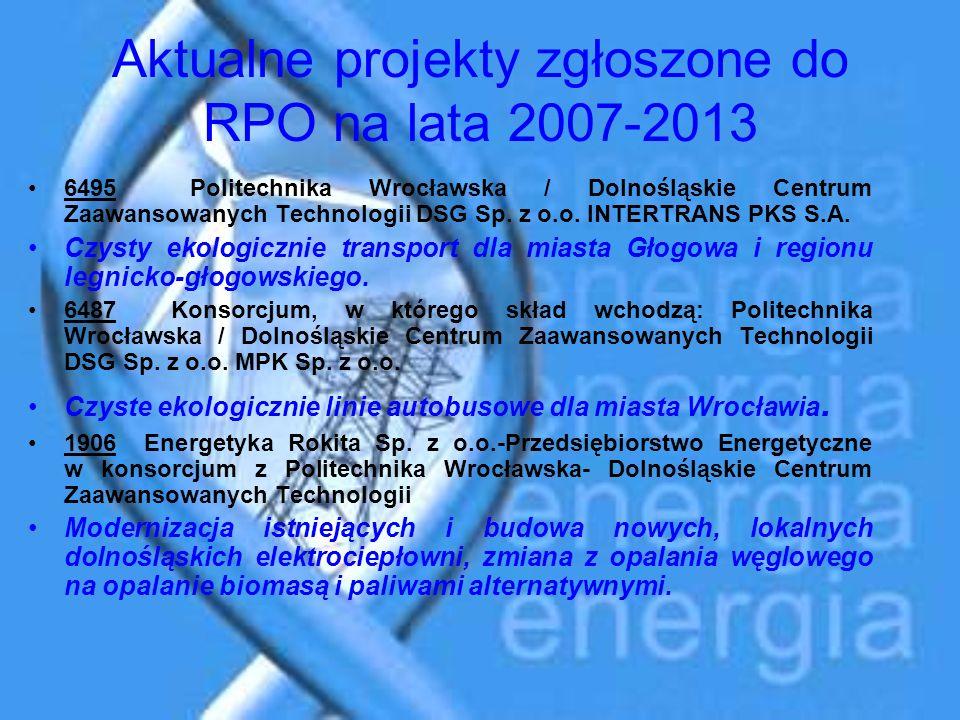 Aktualne projekty zgłoszone do RPO na lata 2007-2013 6495 Politechnika Wrocławska / Dolnośląskie Centrum Zaawansowanych Technologii DSG Sp. z o.o. INT