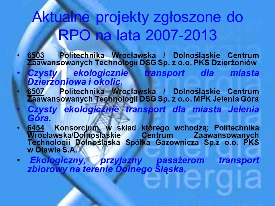 Aktualne projekty zgłoszone do RPO na lata 2007-2013 6503 Politechnika Wrocławska / Dolnośląskie Centrum Zaawansowanych Technologii DSG Sp. z o.o. PKS