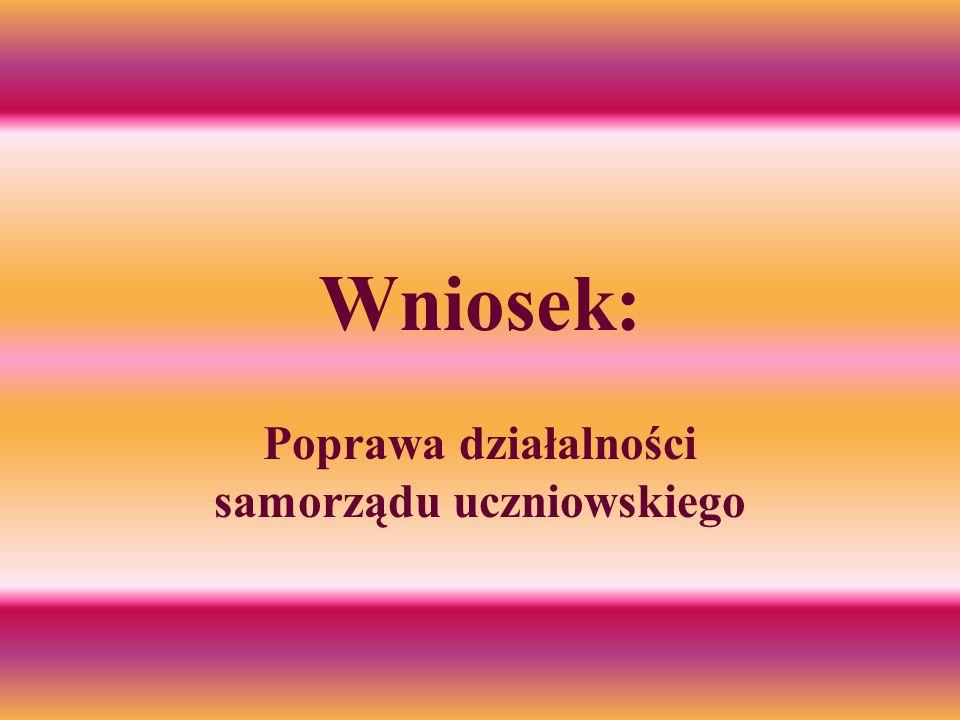 Wniosek: Poprawa działalności samorządu uczniowskiego