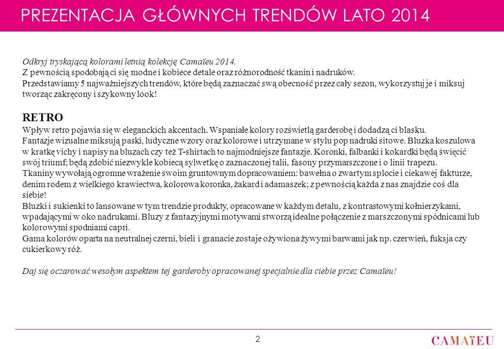 Réunion Coordination E1 2014 // Département des Collections / 29 Juillet 2013 PREZENTACJA GŁÓWNYCH TRENDÓW LATO 2014 2 Odkryj tryskającą kolorami letnią kolekcję Camaïeu 2014.
