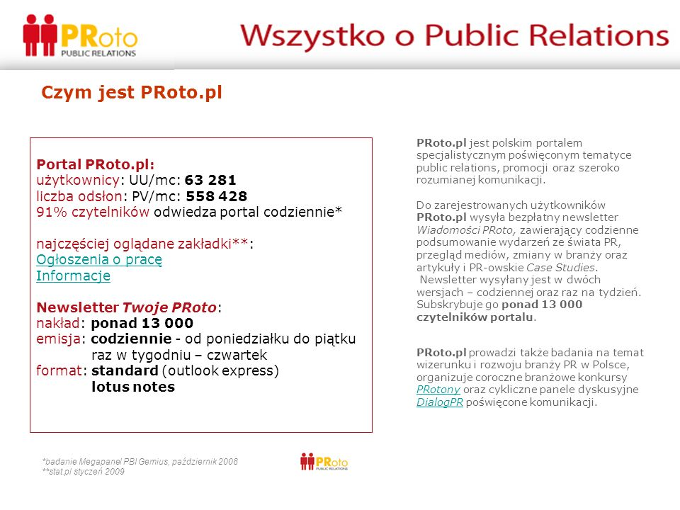 Czym jest PRoto.pl Portal PRoto.pl: użytkownicy: UU/mc: 63 281 liczba odsłon: PV/mc: 558 428 91% czytelników odwiedza portal codziennie* najczęściej oglądane zakładki**: Ogłoszenia o pracę Informacje Newsletter Twoje PRoto: nakład: ponad 13 000 emisja: codziennie - od poniedziałku do piątku raz w tygodniu – czwartek format: standard (outlook express) lotus notes Ogłoszenia o pracę Informacje *badanie Megapanel PBI Gemius, październik 2008 **stat.pl styczeń 2009 PRoto.pl jest polskim portalem specjalistycznym poświęconym tematyce public relations, promocji oraz szeroko rozumianej komunikacji.
