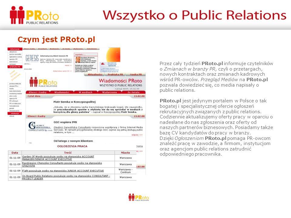 Czym jest PRoto.pl Przez cały tydzień PRoto.pl informuje czytelników o Zmianach w branży PR, czyli o przetargach, nowych kontraktach oraz zmianach kad