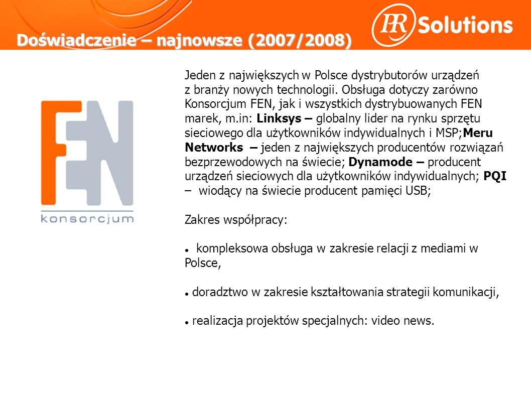 Doświadczenie – najnowsze (2007/2008) Jeden z największych w Polsce dystrybutorów urządzeń z branży nowych technologii.