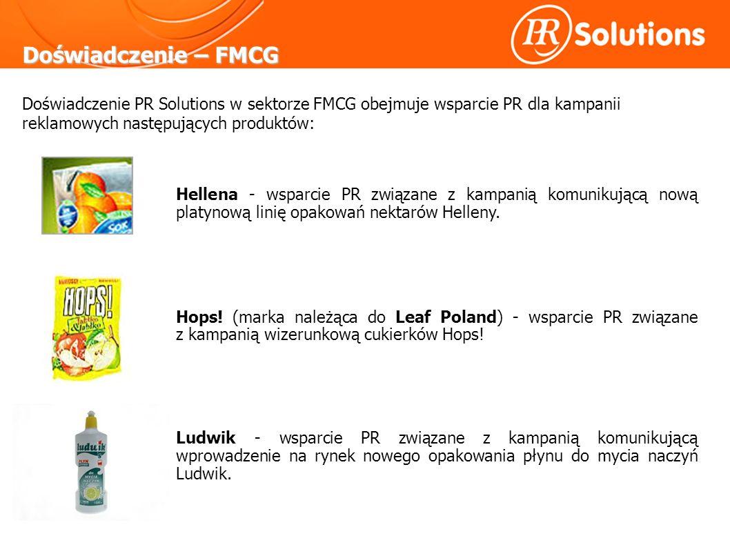 Doświadczenie – FMCG Hellena - wsparcie PR związane z kampanią komunikującą nową platynową linię opakowań nektarów Helleny.