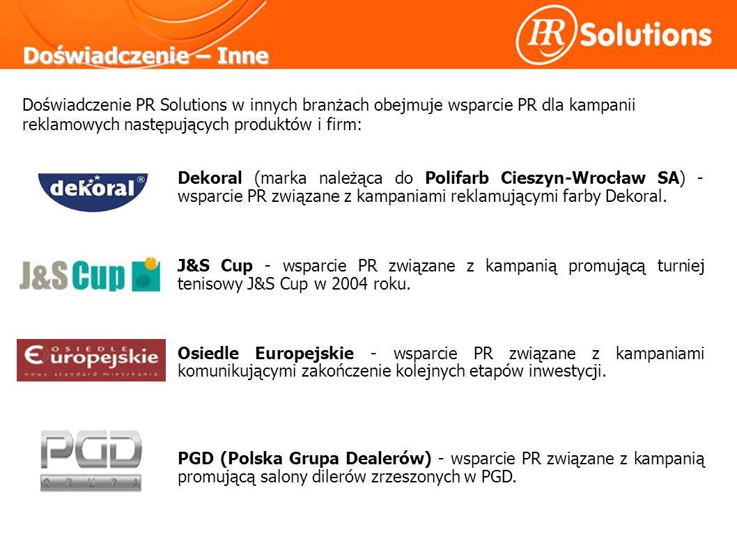 Doświadczenie – Inne Dekoral (marka należąca do Polifarb Cieszyn-Wrocław SA) - wsparcie PR związane z kampaniami reklamującymi farby Dekoral.