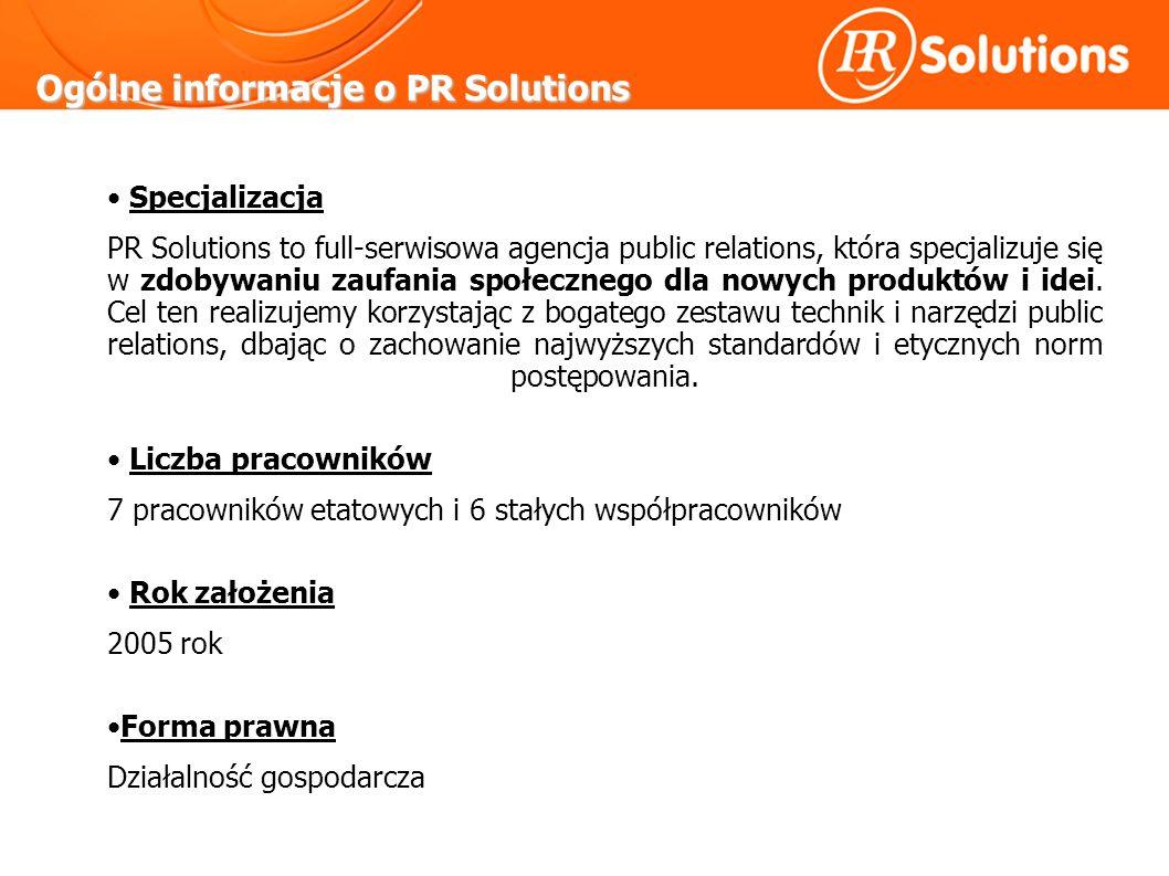 Ogólne informacje o PR Solutions Specjalizacja PR Solutions to full-serwisowa agencja public relations, która specjalizuje się w zdobywaniu zaufania społecznego dla nowych produktów i idei.