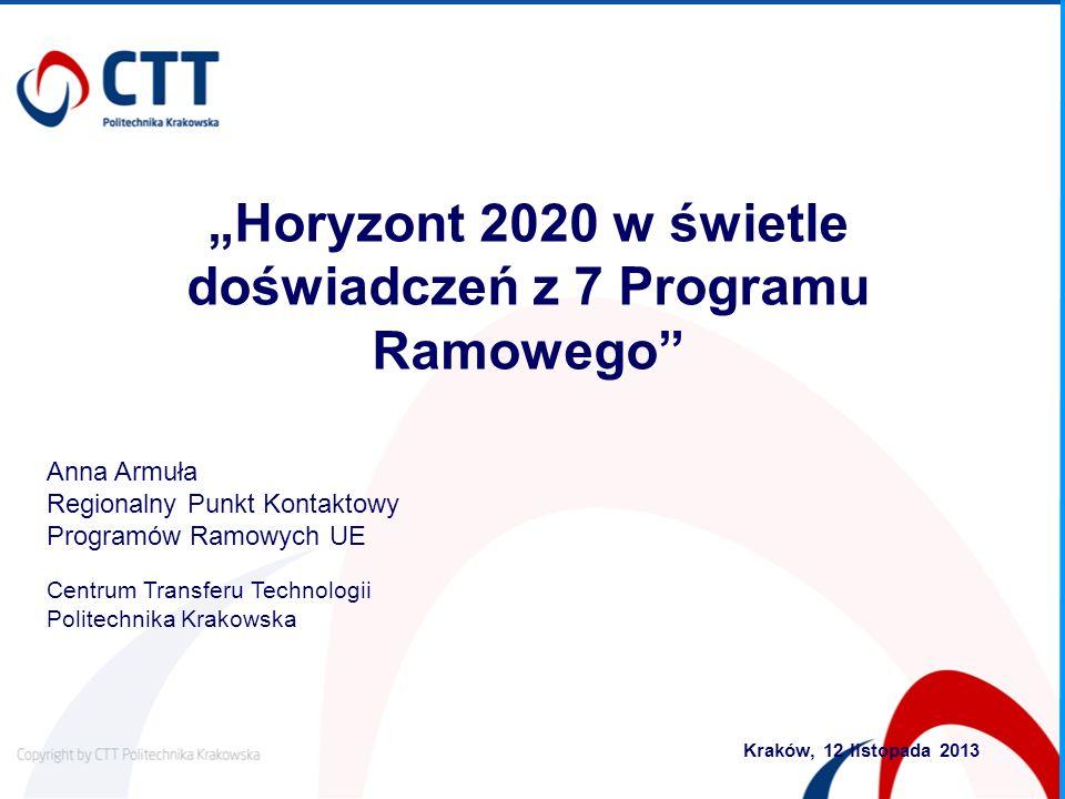 Anna Armuła Regionalny Punkt Kontaktowy Programów Ramowych UE Centrum Transferu Technologii Politechnika Krakowska Kraków, 12 listopada 2013 Horyzont