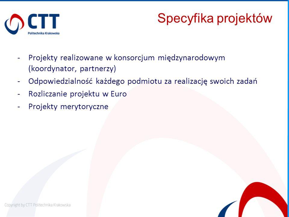 Specyfika projektów -Projekty realizowane w konsorcjum międzynarodowym (koordynator, partnerzy) -Odpowiedzialność każdego podmiotu za realizację swoic