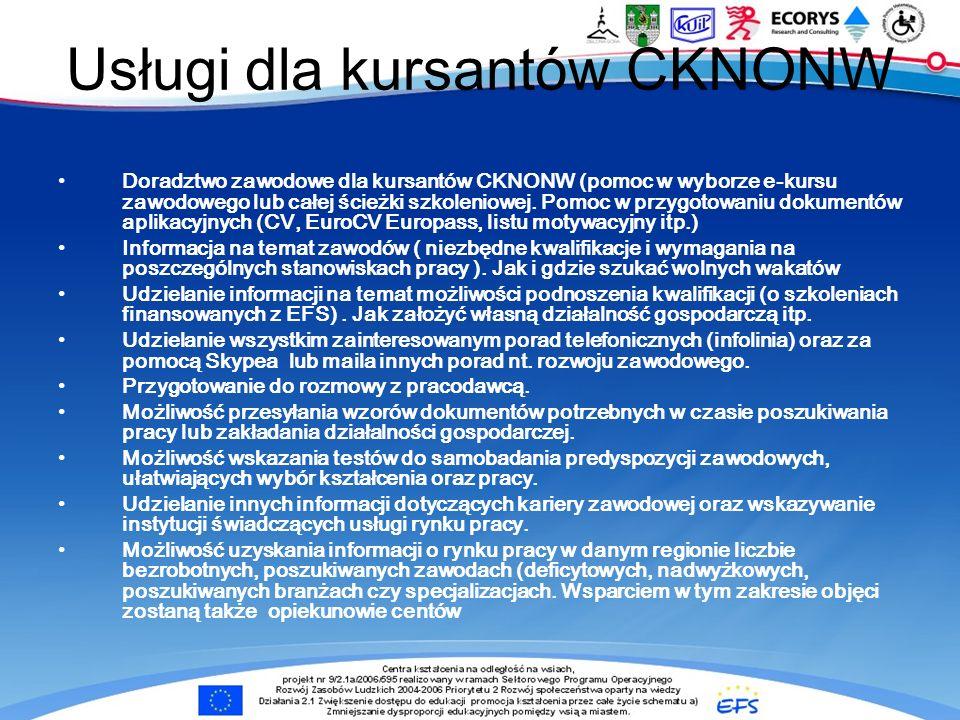 Usługi dla kursantów CKNONW Doradztwo zawodowe dla kursantów CKNONW (pomoc w wyborze e-kursu zawodowego lub całej ścieżki szkoleniowej.