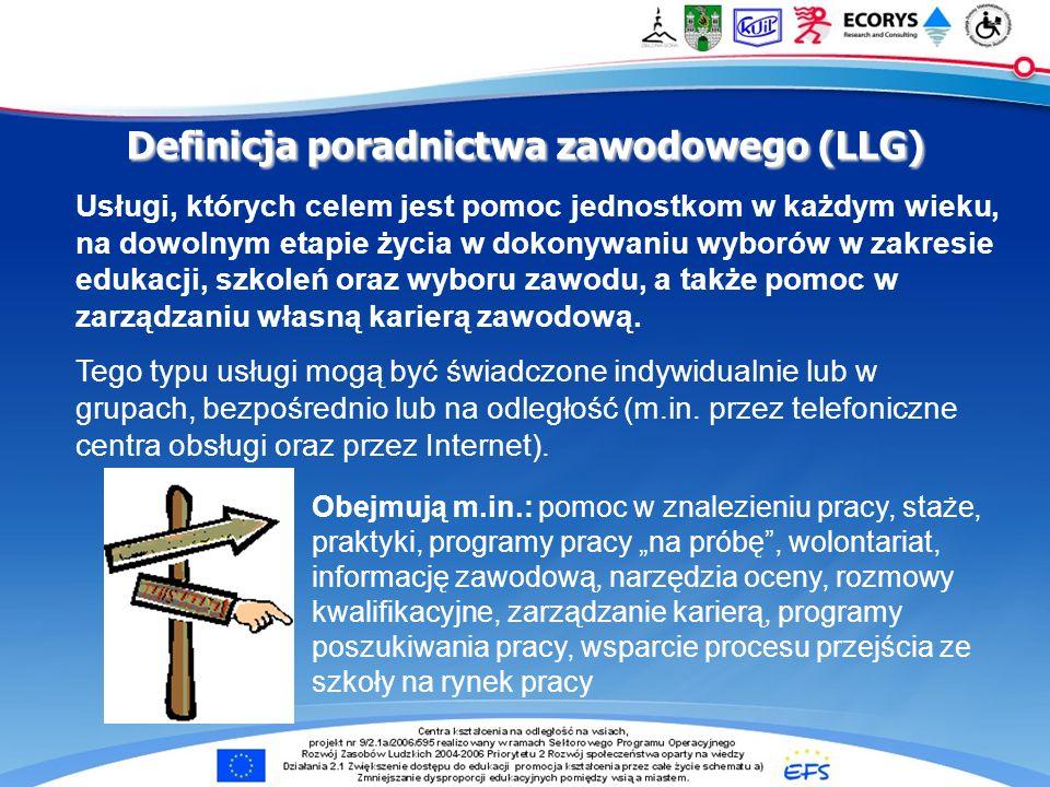 Definicja poradnictwa zawodowego (LLG) Usługi, których celem jest pomoc jednostkom w każdym wieku, na dowolnym etapie życia w dokonywaniu wyborów w zakresie edukacji, szkoleń oraz wyboru zawodu, a także pomoc w zarządzaniu własną karierą zawodową.