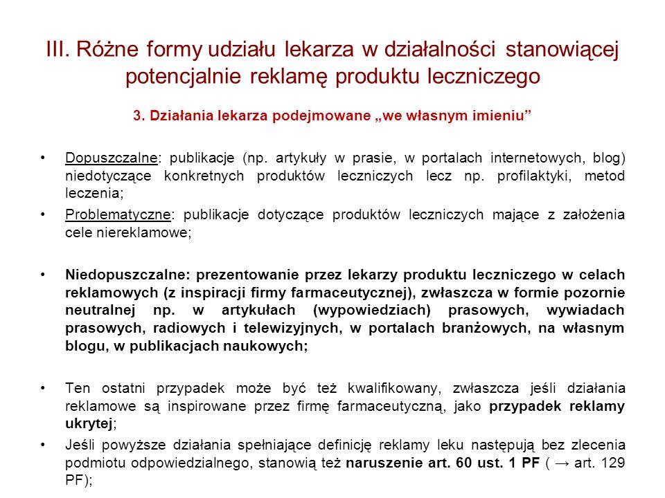 III. Różne formy udziału lekarza w działalności stanowiącej potencjalnie reklamę produktu leczniczego 3. Działania lekarza podejmowane we własnym imie