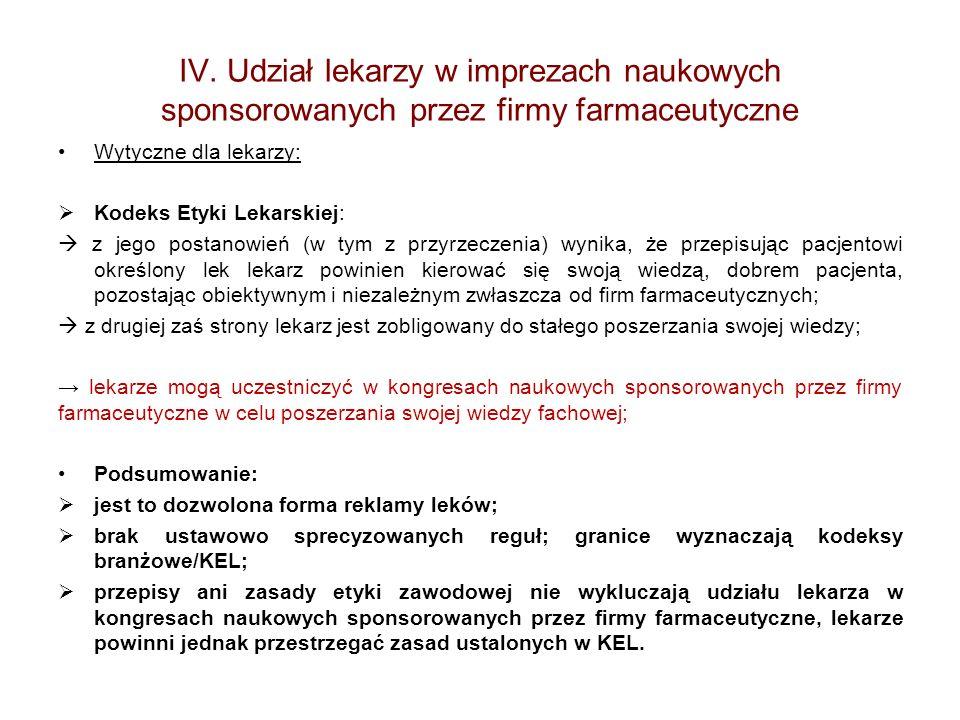 IV. Udział lekarzy w imprezach naukowych sponsorowanych przez firmy farmaceutyczne Wytyczne dla lekarzy: Kodeks Etyki Lekarskiej: z jego postanowień (