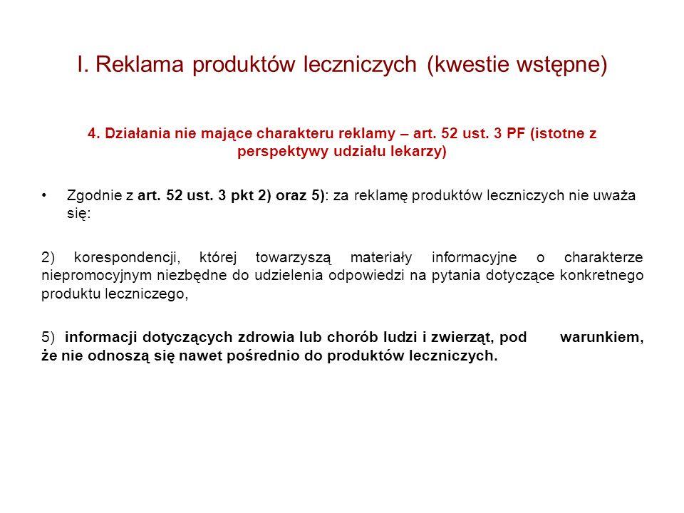 I. Reklama produktów leczniczych (kwestie wstępne) 4. Działania nie mające charakteru reklamy – art. 52 ust. 3 PF (istotne z perspektywy udziału lekar