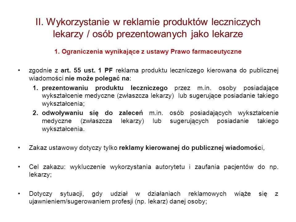 II. Wykorzystanie w reklamie produktów leczniczych lekarzy / osób prezentowanych jako lekarze 1. Ograniczenia wynikające z ustawy Prawo farmaceutyczne