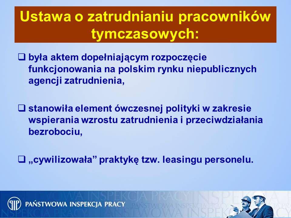 Ustawa o zatrudnianiu pracowników tymczasowych: była aktem dopełniającym rozpoczęcie funkcjonowania na polskim rynku niepublicznych agencji zatrudnien