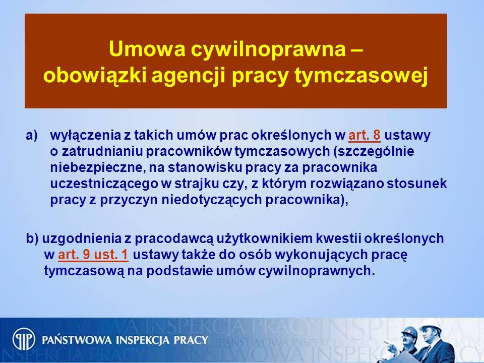 Umowa cywilnoprawna – obowiązki agencji pracy tymczasowej a)wyłączenia z takich umów prac określonych w art. 8 ustawy o zatrudnianiu pracowników tymcz