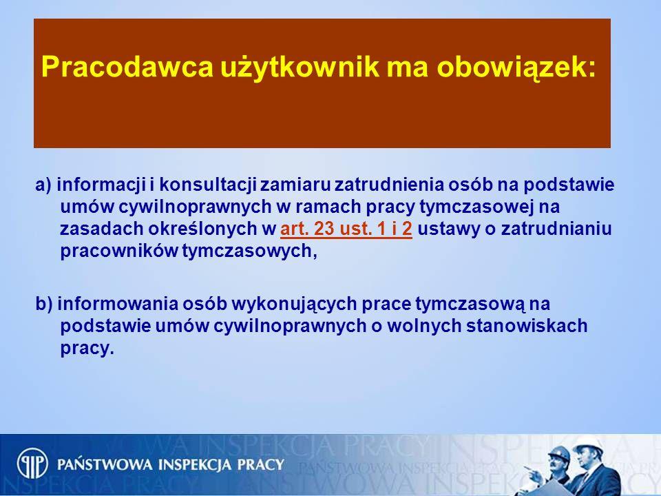 Pracodawca użytkownik ma obowiązek: a) informacji i konsultacji zamiaru zatrudnienia osób na podstawie umów cywilnoprawnych w ramach pracy tymczasowej