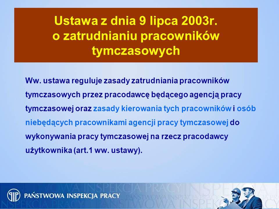 Ustawa z dnia 9 lipca 2003r. o zatrudnianiu pracowników tymczasowych Ww. ustawa reguluje zasady zatrudniania pracowników tymczasowych przez pracodawcę