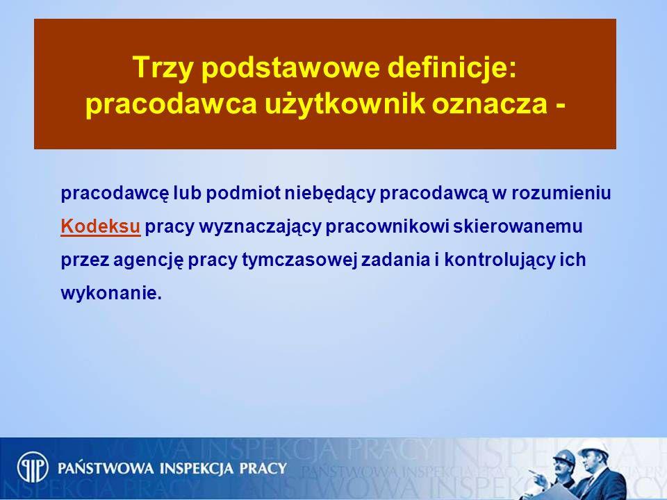 Trzy podstawowe definicje: pracodawca użytkownik oznacza - pracodawcę lub podmiot niebędący pracodawcą w rozumieniu Kodeksu pracy wyznaczający pracown