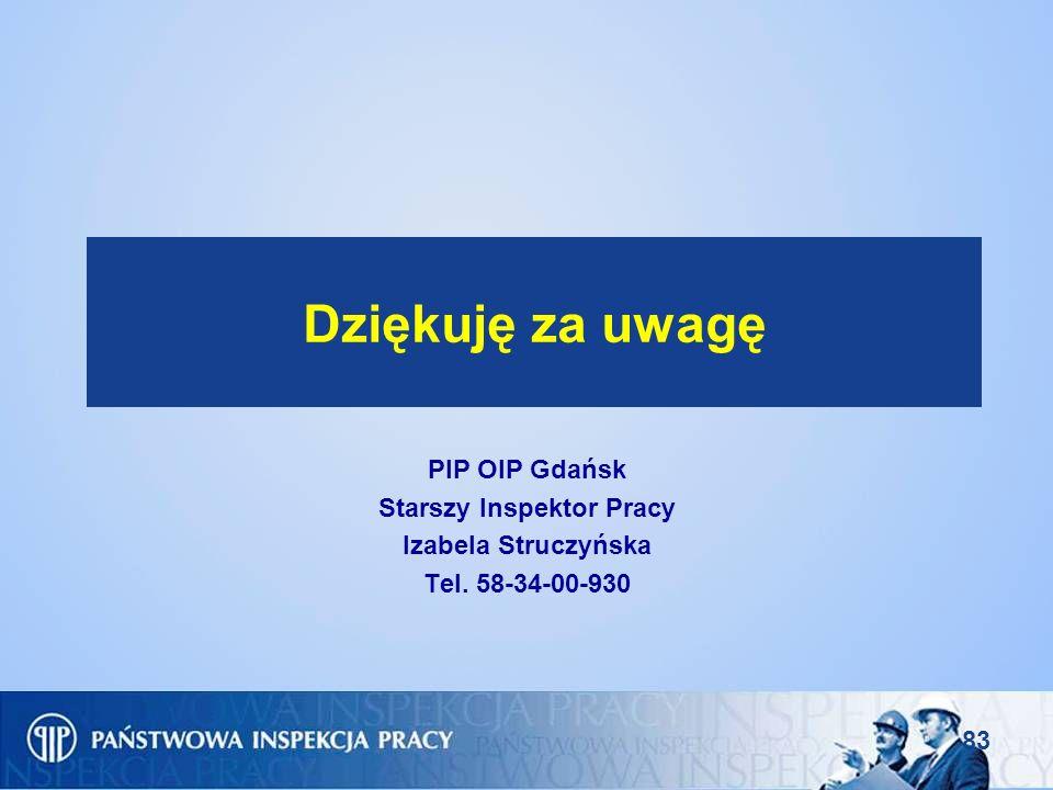 83 Dziękuję za uwagę PIP OIP Gdańsk Starszy Inspektor Pracy Izabela Struczyńska Tel. 58-34-00-930