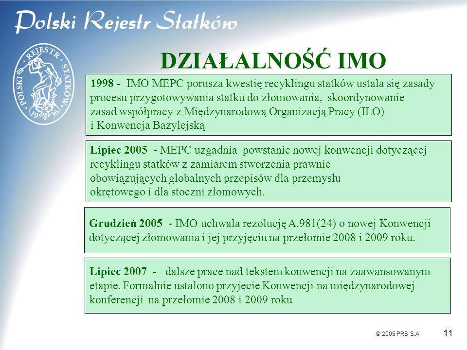 © 2005 PRS S.A. 11 DZIAŁALNOŚĆ IMO 1998 - IMO MEPC porusza kwestię recyklingu statków ustala się zasady procesu przygotowywania statku do złomowania,