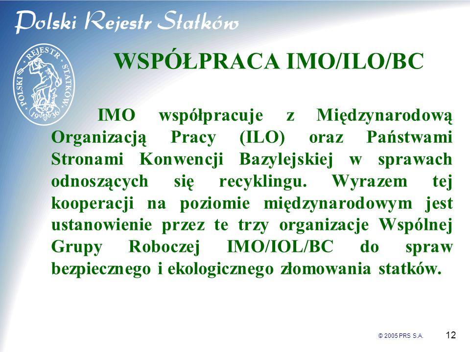 © 2005 PRS S.A. 12 WSPÓŁPRACA IMO/ILO/BC IMO współpracuje z Międzynarodową Organizacją Pracy (ILO) oraz Państwami Stronami Konwencji Bazylejskiej w sp
