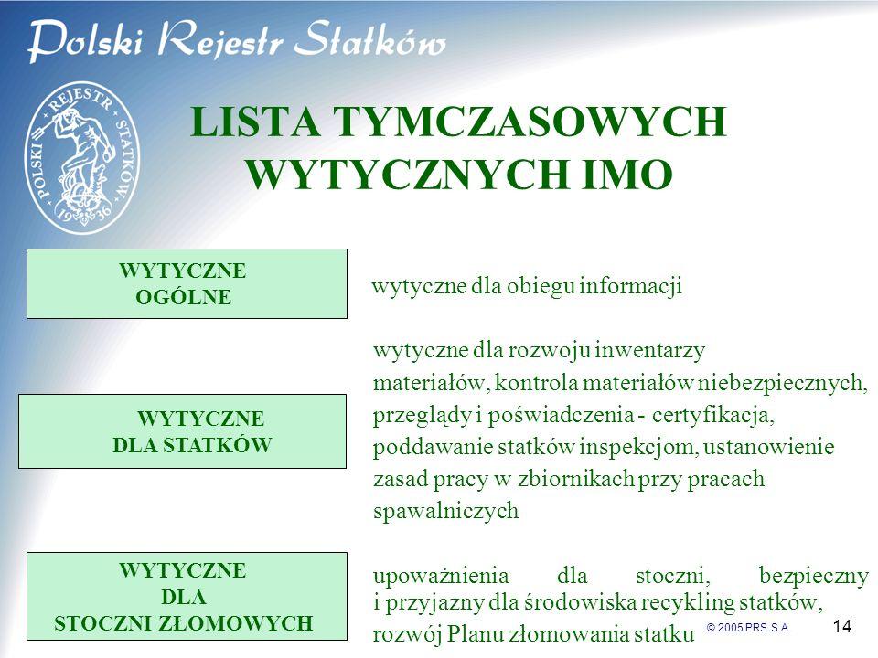 © 2005 PRS S.A. 14 LISTA TYMCZASOWYCH WYTYCZNYCH IMO wytyczne dla obiegu informacji wytyczne dla rozwoju inwentarzy materiałów, kontrola materiałów ni