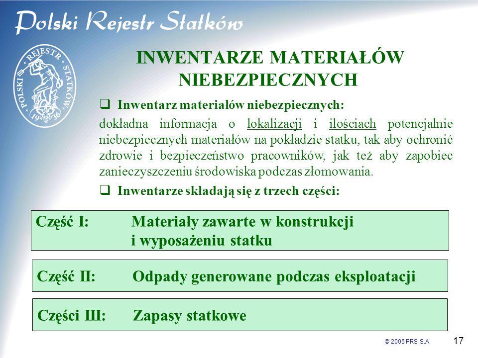 © 2005 PRS S.A. 17 INWENTARZE MATERIAŁÓW NIEBEZPIECZNYCH Inwentarz materiałów niebezpiecznych: dokładna informacja o lokalizacji i ilościach potencjal