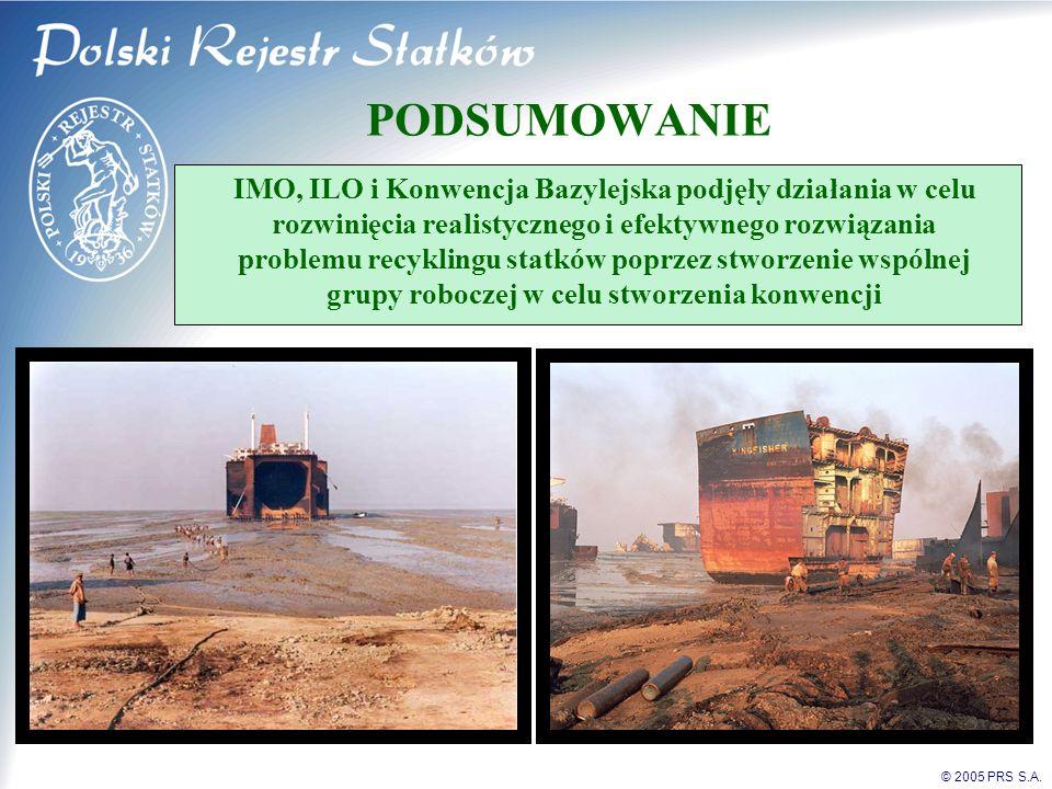© 2005 PRS S.A. PODSUMOWANIE IMO, ILO i Konwencja Bazylejska podjęły działania w celu rozwinięcia realistycznego i efektywnego rozwiązania problemu re